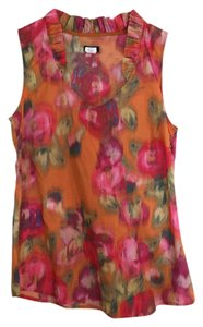 J.Crew Preppy Cotton Casual Sleeveless V-neck Top Orange