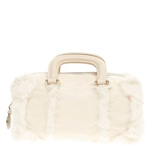 Fendi Leather&fur Satchel in White