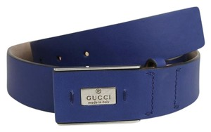 Gucci Blue Leather Trademark Belt with Hidden Buckle 85/34 353345 4232