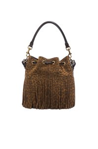 Saint Laurent Fringed Ysl Suede Shoulder Bag
