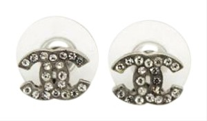 Chanel #8980 CC mini clear crystals silver hardware pierced earrings
