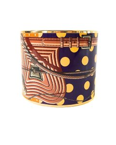 Herms Hermes Mega Wide Printed Enamel w Gold