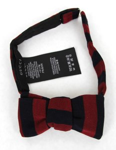 Gucci New Gucci Navy Blue/red Cotton Striped Bow Tie 379613 4174
