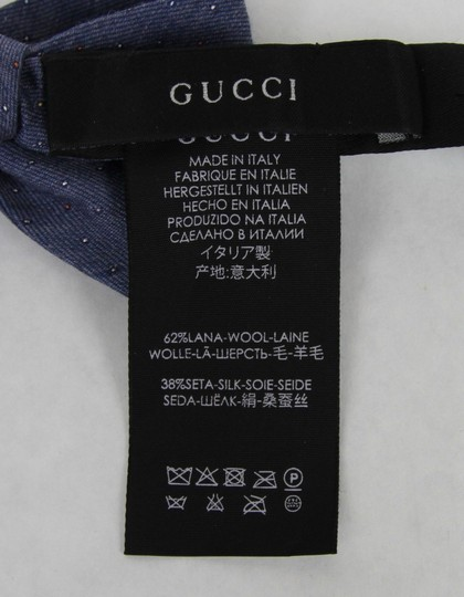 Gucci Blue W Wool Silk Periwinkle W/Colorful Dotted Pattern 388173 4500 Tie/Bowtie Image 3