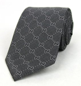 Gucci New Gucci Gray Woven Silk Tie With Interlocking G Print 232461 1263