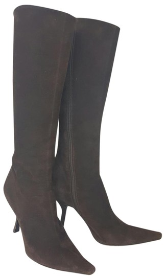 Prada Suede Knee High Brown Boots