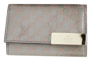 Gucci Light Pink/Gray Patent Leather Guccissima Key Holder 268833 1268