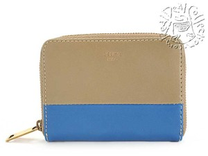 Céline RDC4024 Celine Cobalt Blue and Khaki Bicolor Zip Around Card Wallet