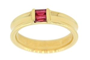 Tiffany & Co. Tiffany & Co 18k Yellow Gold Ruby Band Stackable Ring