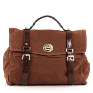 Mulberry Nubuck Satchel in Burnt Orange