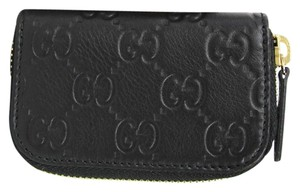ed0db56bd35 Gucci Black Guccissima Leather Zip Around Coin Purse Wallet 324801 1000