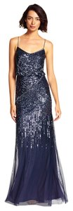 Adrianna Papell Sequin Embellished Beaded Gown Midnight Dress