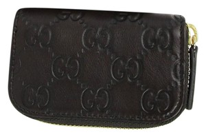 Gucci Dark Brown Guccissima Leather Zip Around Coin Purse Wallet 324801 2019