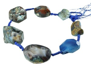 Blue Tri-Color Druzy Agate Choker Gemstone Bead Necklace