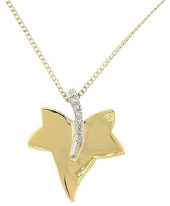Tiffany & Co. Tiffany & Co. Cummings 18k Gold Platinum Diamond Maple Leaf Necklace