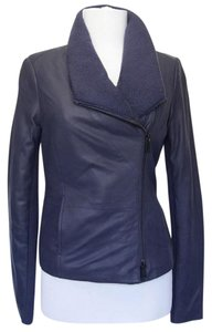 Vince Leather Blue Leather Scuba Collar Zips Leather Navy Leather Jacket