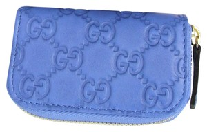 Gucci Light Blue Guccissima Leather Zip Around Coin Purse Wallet 324801 4306
