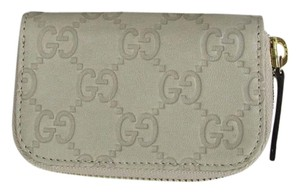 Gucci Off White Guccissima Leather Zip Around Coin Purse Wallet 324801 9022