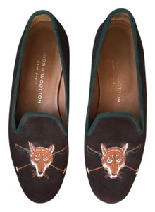 Stubbs & Wootton Brown with Hunter Green trim Flats