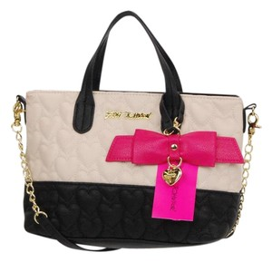 Betsey Johnson Satchel in White black