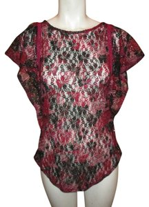 Free People Lace Tunic Bat Wing Sleeves Top burgundy, black multi color print