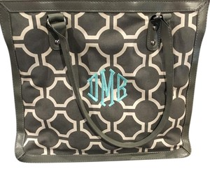 Initials Inc Monogram Dmb Tote in Gray print with light blue embroidery