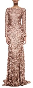 Theia Petal Mermaid Gown Natural Longsleeve Dress