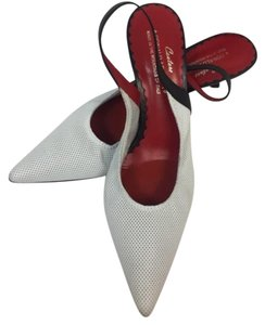 Donald J. Pliner White, Black Heel &Straps. Red Interior Formal