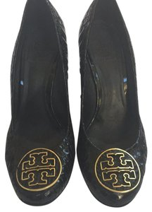 Tory Burch Black with gold Tory Burch logo Wedges