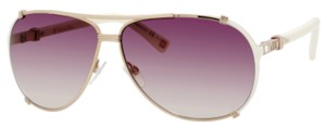Dior Dior 'Chicago 2 Strass' Aviator Sunglasses Rose Gold, Ivory