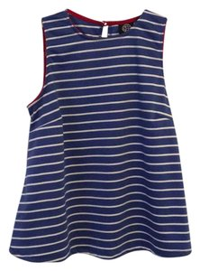 Bobeau Top Blue and white striped