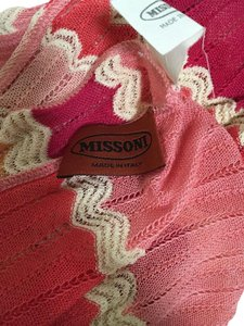 M Missoni MISSONI Knitted ZIG Zag Pink White Orange Scarf Multi/Top/Sarong