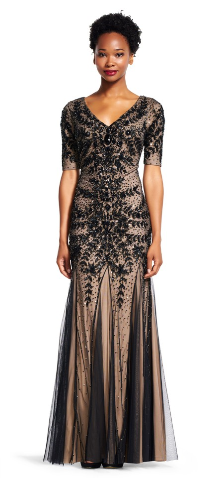 Adrianna Papell Black Beaded Gown with Godets and Elbow Sleeves Long ...