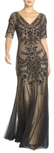 Adrianna Papell Beaded Short Sleeve Gown Dress