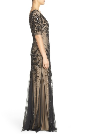 Adrianna Papell Black Floral Beaded Gown With Godets And Elbow