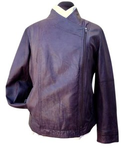 J. Jill Soft Leather Asymmetrical Zip Moto Style Fully Lined Motorcycle Jacket