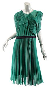 BCBGMAXAZRIA Bcbg Max Azria Emerald Chiffon Pleated Dress