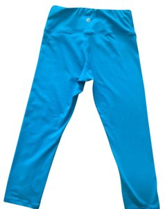 Lululemon AQUA BLUE SWEAT WICKING CAPRI LEGGINGS