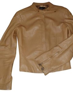 BCBGMAXAZRIA Leather Gold Zippers caramel Leather Jacket