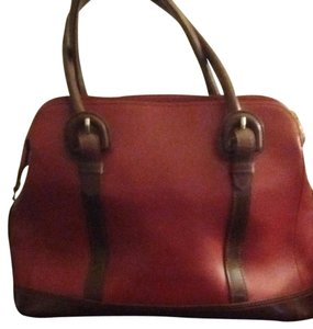 Liz Claiborne Tote in Brick Red With Congac Trimming