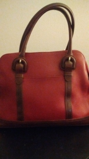 Liz Claiborne Tote in Brick Red With Congac Trimming Image 1