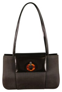 Dior Embossed Tortoise Shell Magnetic Silver Divider Shoulder Bag