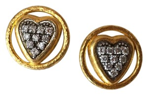 GURHAN Gurhan 24K Gold and Diamond Heart Earrings