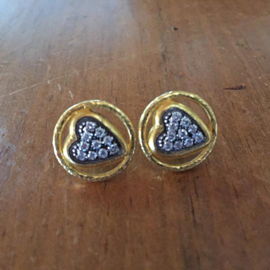 GURHAN Gurhan 24K Gold and Diamond Heart Earrings Image 1