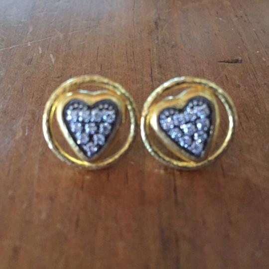 GURHAN Gurhan 24K Gold and Diamond Heart Earrings Image 3