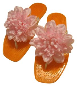 Kate Spade Flower Flip Flop pink, pearl, orange Flats