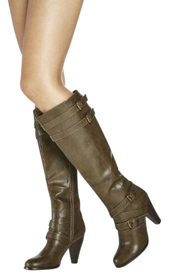 Ladies Olive Nice Green Leather Justfab Boots/Booties Nice Olive appearance 4a885d