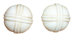 Early 1900's IVORY Button Clip-On Earrings - 1910-1915