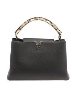 Louis Vuitton Capucines Python 101261 Lv Satchel in Black