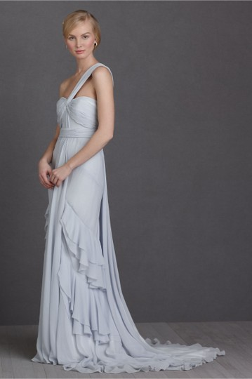 BHLDN Pale Blue Textured Silk Chiffon Shell; Silk Charmeuse Lining Crashing Waves Gown Destination Wedding Dress Size 10 (M) Image 5